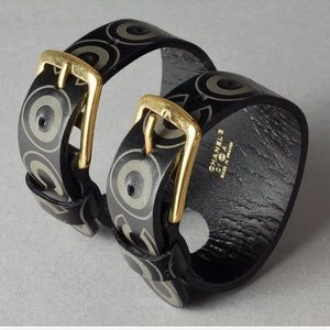 CHANEL Coco Double Buckle Leather Cuff Bracelet
